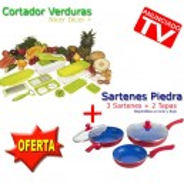 Sartenes Piedra + Cortador Verduras Nicer Dicer Plus