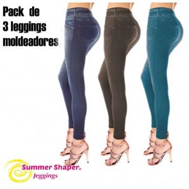 Slim Jeans Summer Vaquero, Pack de 3 leggings moldeadores