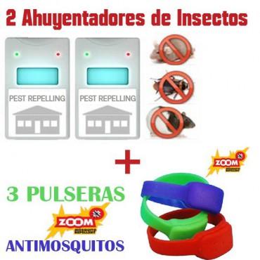 2 Riddex Plus + 3 Pulseras Antimosquitos
