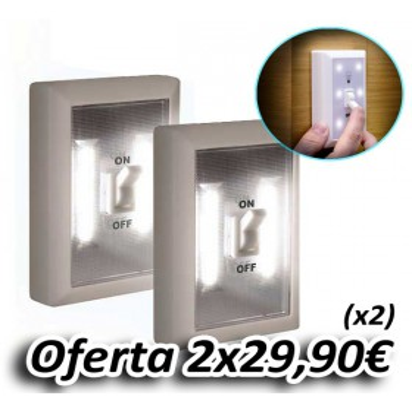 Super Luz LED Inalámbrica Interruptor (2 Unidades)